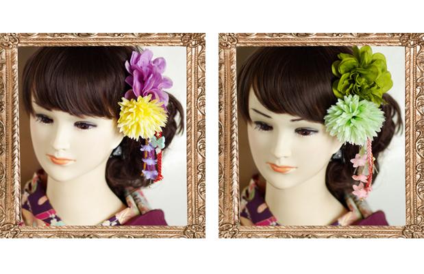 左側:「女性らしいふんわりとした明るいイメージ」 右側:「和ならではの緑色が上品で落ち着いた大人なイメージ」