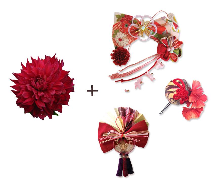 生花画像+アンティークリボンやつまみ細工等の画像の組み合わせ