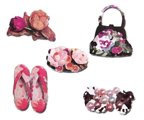 薔薇、チューリップ、小鳥などの西洋モチーフを帯どめや半襟