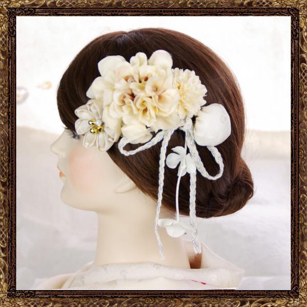 和装 結婚式 髪飾り なでしこのおでかけ櫛コーム(純白の花嫁)