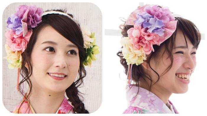 和装 袴 髪飾り 卒業式 乙女の花しだれカチューシャ(はんなり美人)