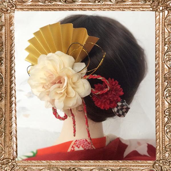 大正ロマン 粋なはいから扇飾り(花の舞)