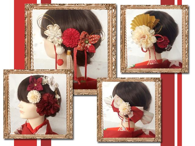 紅白の髪飾り商品画像