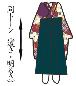 ポイント色を取り入れている個性的な袴イメージ写真