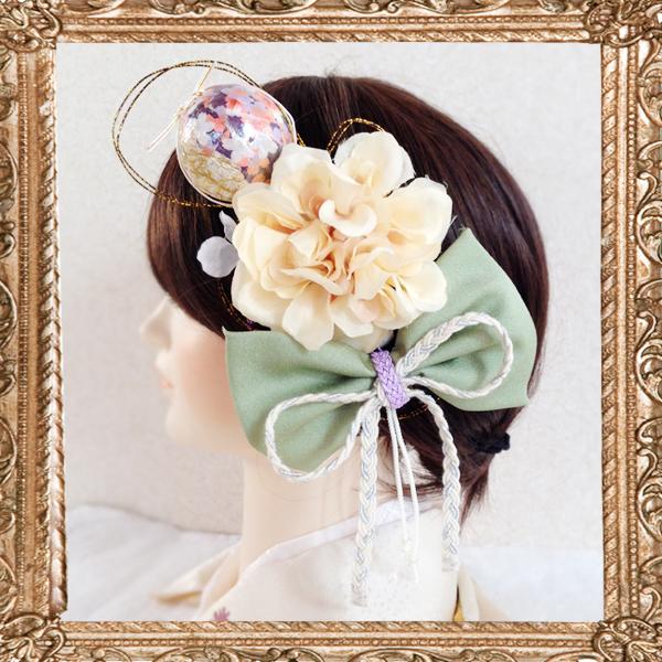 和装 髪飾り 結婚式(和婚)モダンなハイカラレトロ鞠和細工飾り(清く美しはんなり)