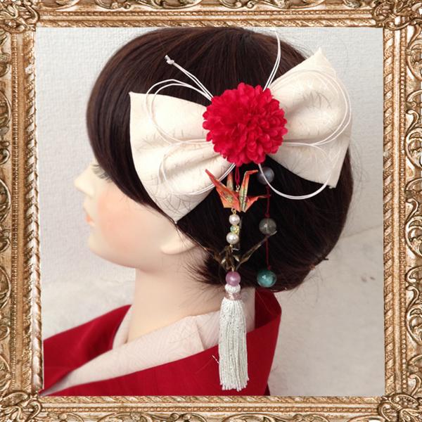 和装 髪飾り 結婚式(和婚)御祝い蝶々と鶴の和細工リボン