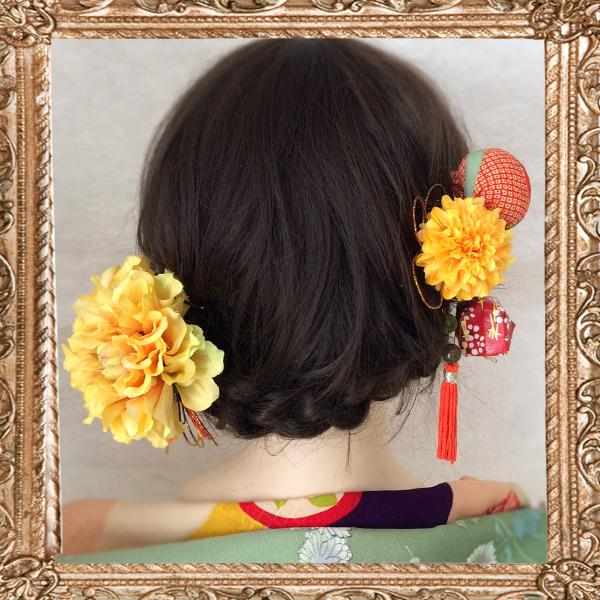 ダリアと和細工の髪飾り