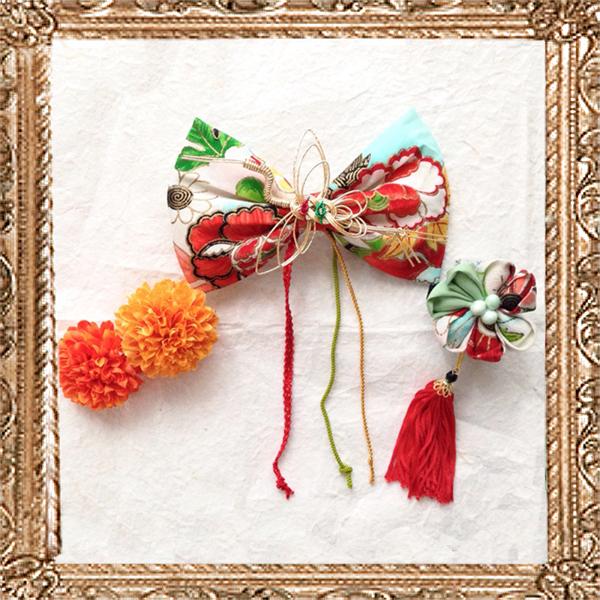 大人なアンティークリボンの京美人飾り (暁月に咲く花)