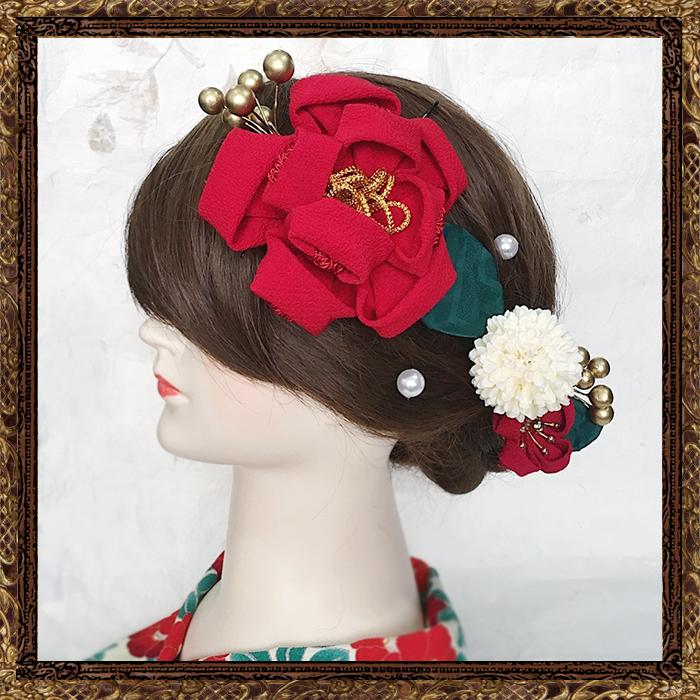 和装 髪飾り 成人式 美し椿のお蝶夫人飾り