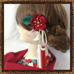 着物 椿 髪飾り