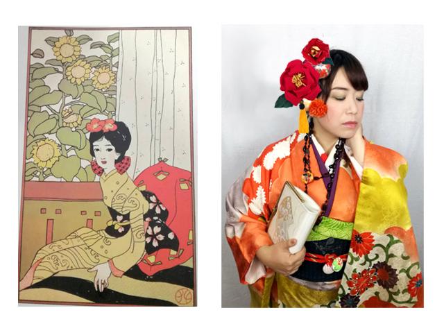 夢二の女性イラストと自分たちの大正ロマンコーデ写真