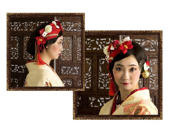 和装 髪飾り 成人式 粋な和細工盛りボンネ京美人セット