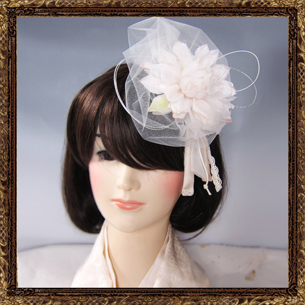 和装 髪飾り 結婚式(和婚)寿ヘッドドレス  チュールダリア(純白の花嫁)