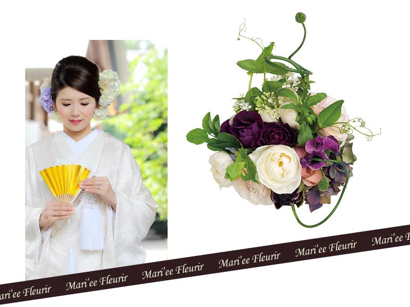 和装で色打掛を着る時に、華やかで可愛らしく見せる装飾の1つとして沢山の花嫁様に選ばれている「お花」