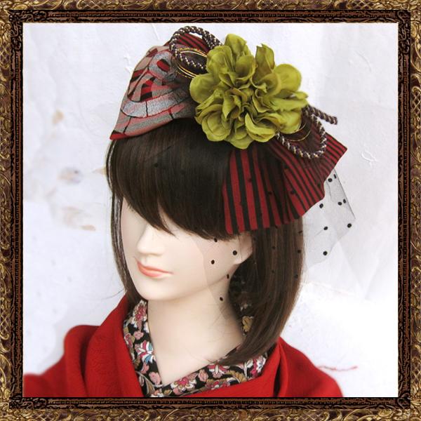 柄あり:和装 髪飾り 成人式 大正ロマンリボンネット
