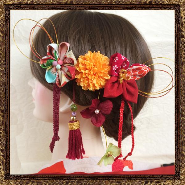造花はデザインの一部和装 髪飾り 成人式 夢見る乙女のしだれ細工