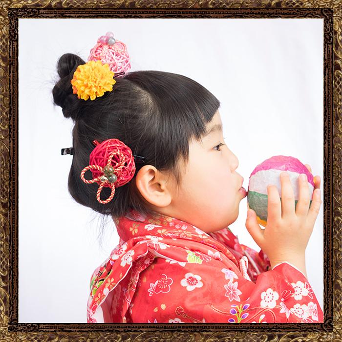 和装 髪飾り 七五三 小梅ちゃんのポンポン鞠細工飾り 全4色