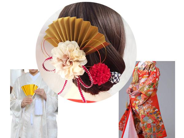 和装 髪飾り 結婚式(和婚) 大正ロマン 粋なはいから扇飾り(花の舞)
