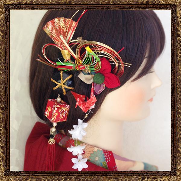 和装 髪飾り 成人式 大和撫子のゆらゆら和細工飾り(鶴と風船)