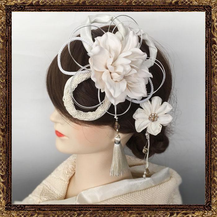 和装 髪飾り 結婚式(和婚)寿ヘッドドレス 純白の花嫁の美し花飾り