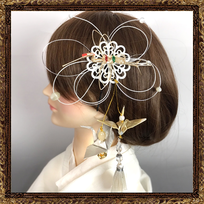 和装 髪飾り 結婚式(和婚)御祝い水引細工(純白の花嫁)
