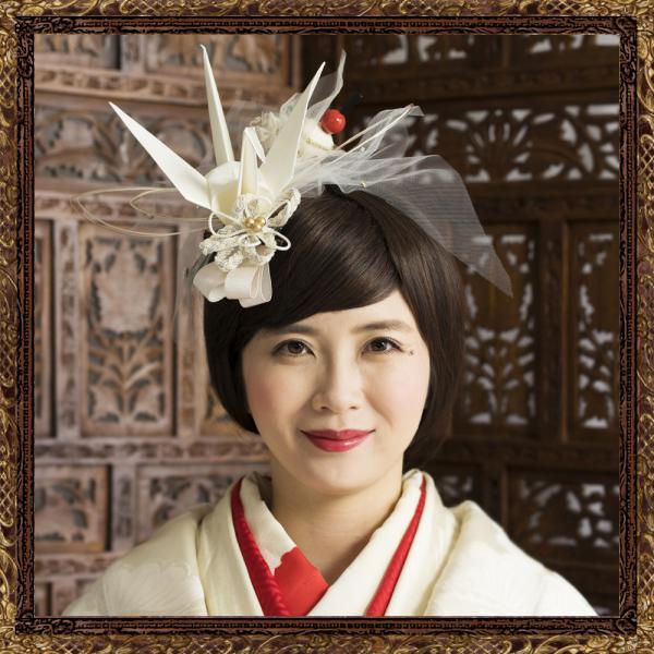 和装 髪飾り 結婚式(和婚)寿ヘッドドレス 白鶴の飛翔