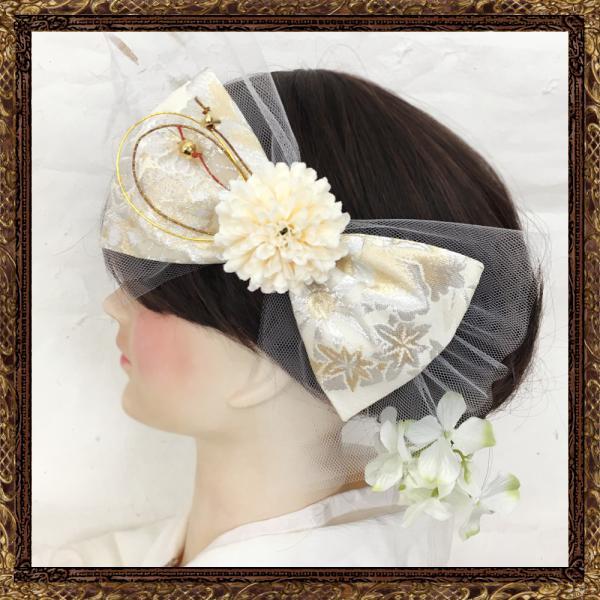 和装 髪飾り 結婚式(和婚)ふわりひらり大人のチュールリボン 純白の花嫁