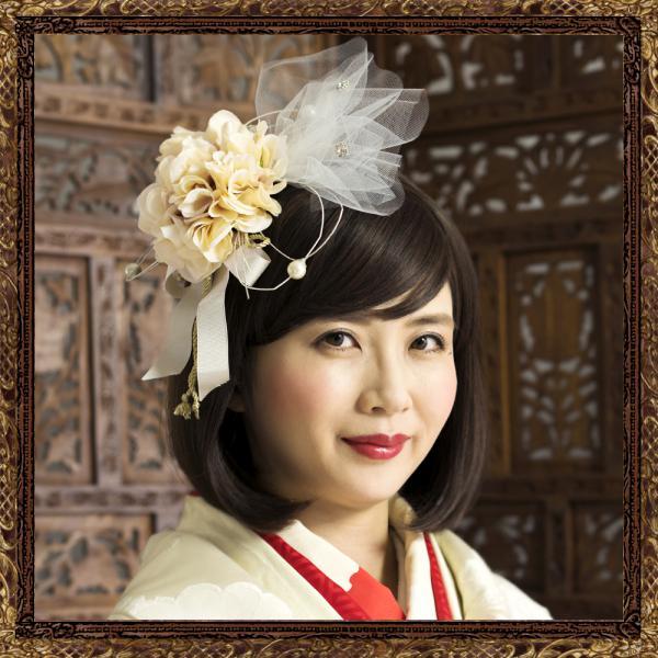 和装 髪飾り 結婚式(和婚)純白の花嫁鞠ボンネット