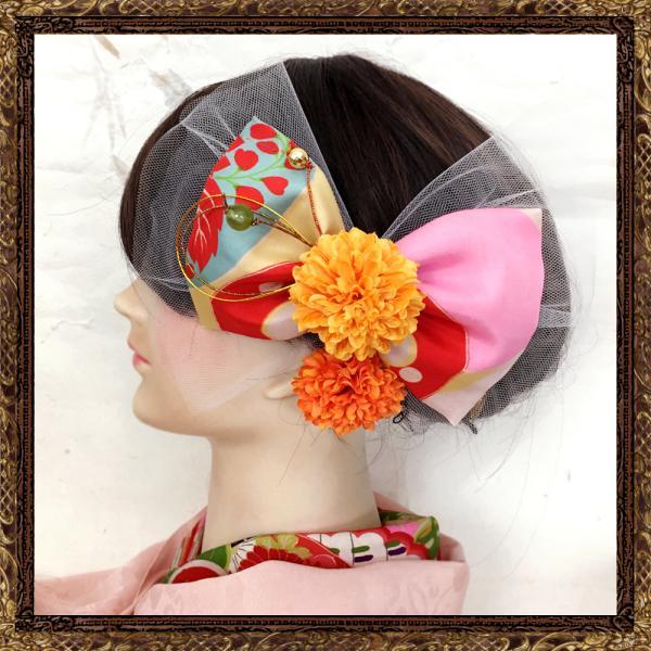 和装 髪飾り 七五三 ふわりひらり大人のチュールリボン 桃色の調べ
