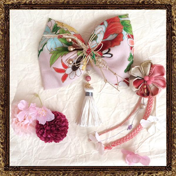 和装 髪飾り 成人式 大人なアンティークリボンの京美人飾り (春爛漫)