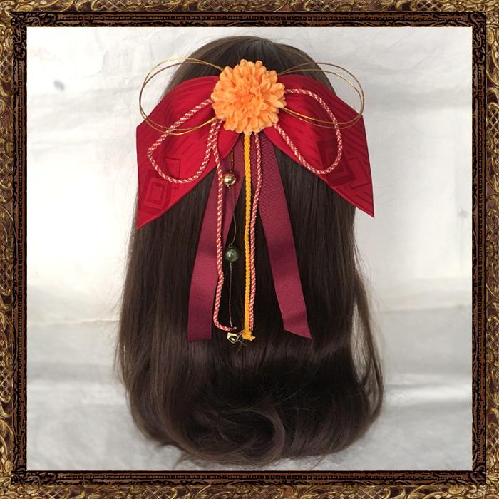 和装 髪飾り 卒業式 はいからさんの乙女しだれリボン(つばきの君)