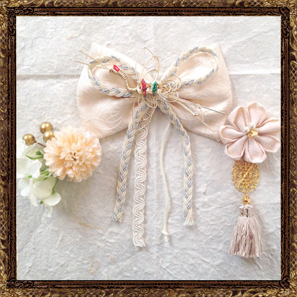 和装 髪飾り 結婚式(和婚)大人なアンティークリボンの京美人飾り