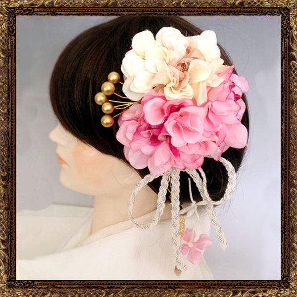 和装 髪飾り 成人式 寿ヘッドドレス 鞠ブーケ飾り(なでしこ)