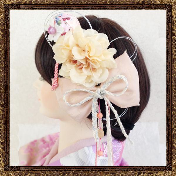和装 髪飾り 成人式 モダンなハイカラレトロ鞠和細工飾り(恋する桜)