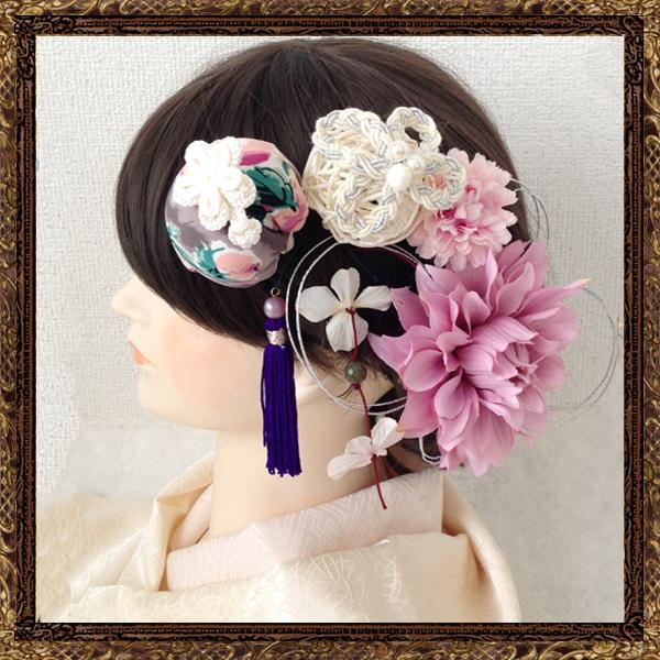 和装 髪飾り 成人式 やまとなでしこのポンポンかんざしセット【恋する桜】