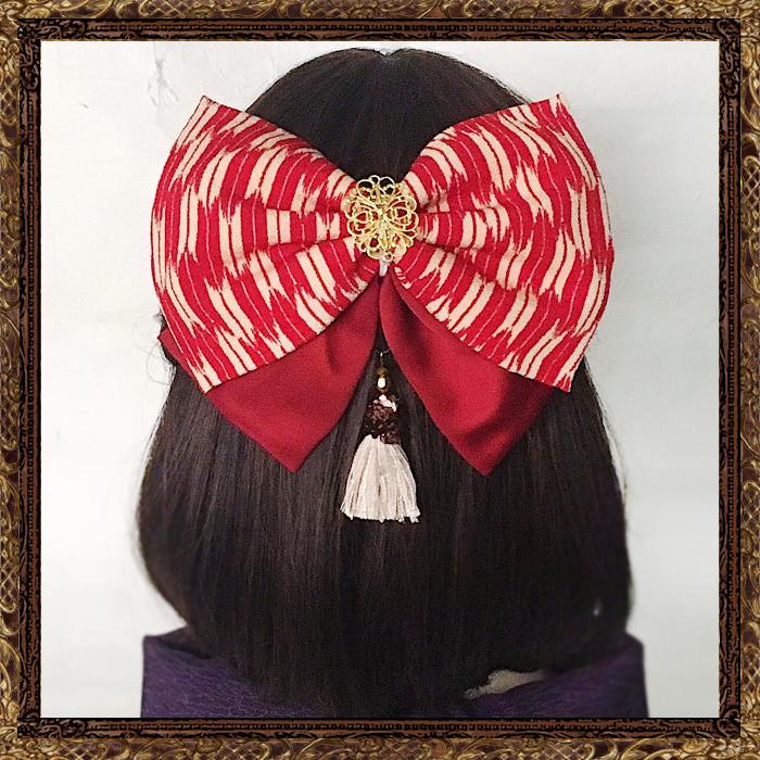和装 髪飾り 卒業式 大正ロマン 乙女のリボン(矢絣B)