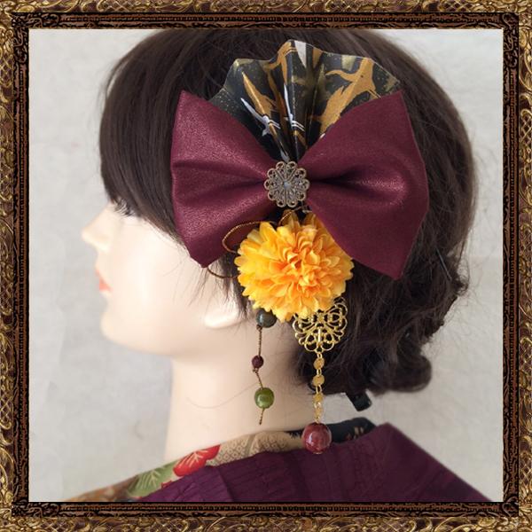 和装 髪飾り 成人式 粋なはいから扇飾り(雅の舞)