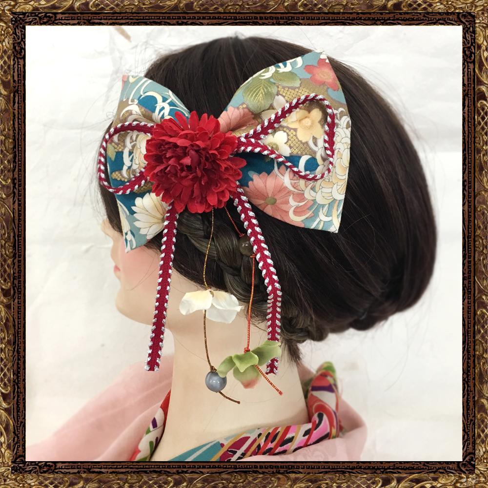 和装 髪飾り 成人式 大正ロマン 乙女の恋するハイカラ柄リボン(乙女アンティーク)