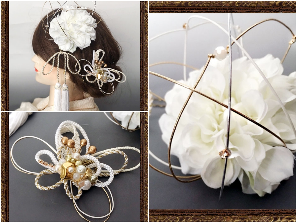 和装 髪飾り 結婚式(和婚)和ビジューと水引ダリアの飾り