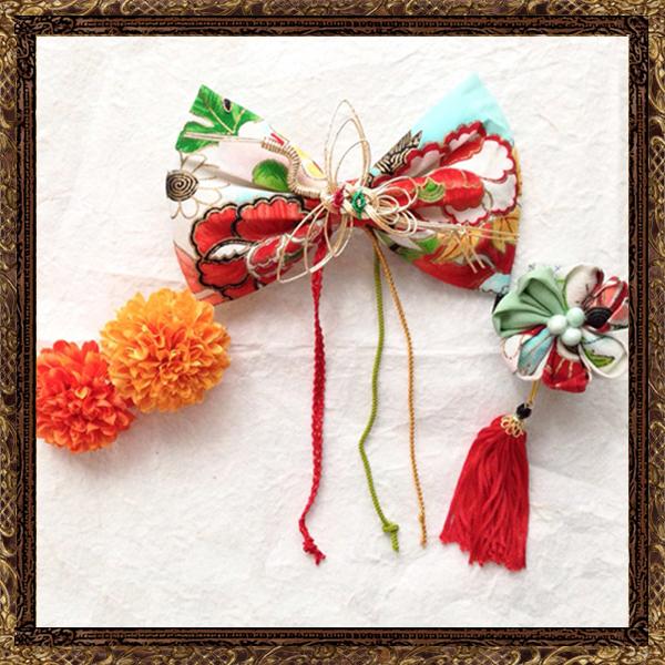 和装 髪飾り 結婚式(和婚)大人なアンティークリボンの京美人飾り (暁月に咲く花)