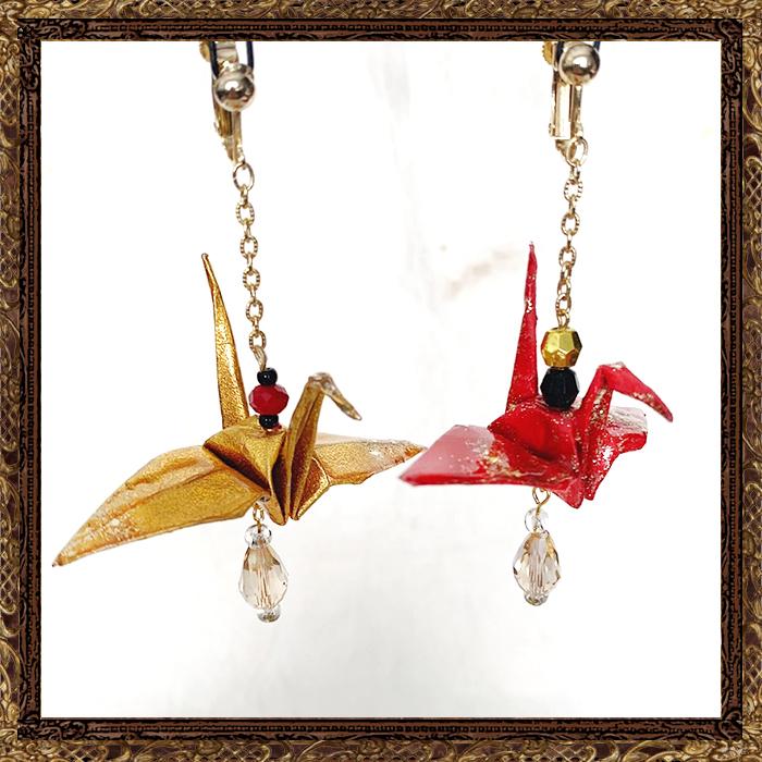 イヤリングの鶴