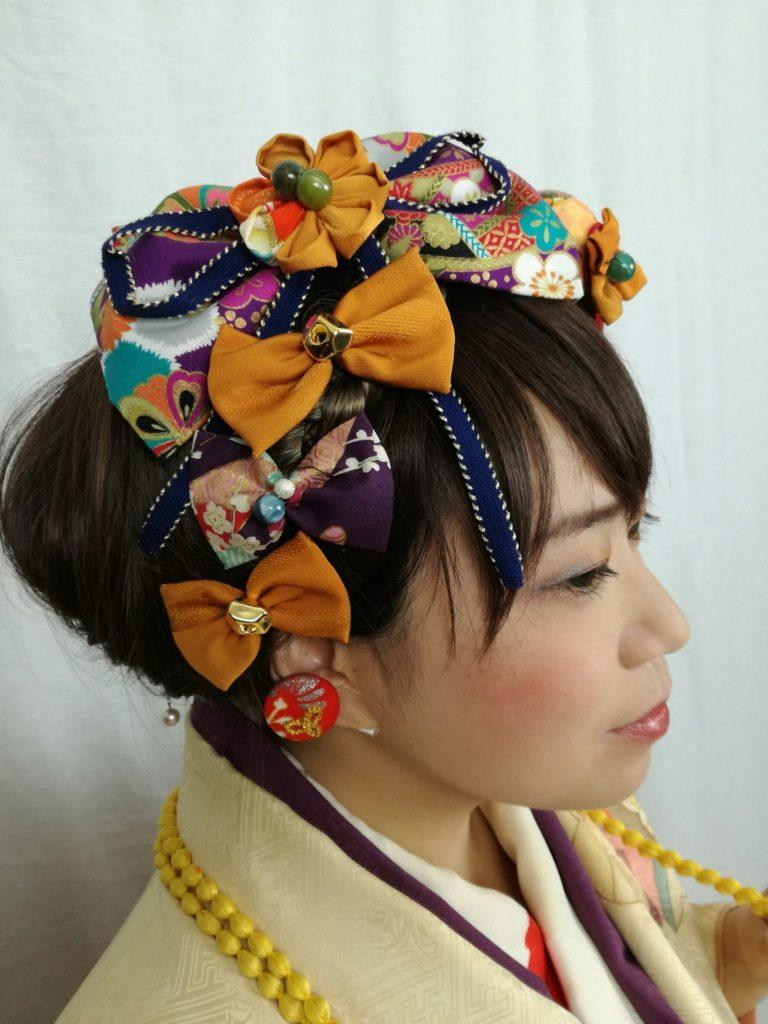 髪飾りをお花、リボン、和細工(つまみ細工、水引、鞠、扇、鶴など)が全てセット