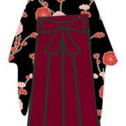 黒系着物×海老茶(えんじ)色の袴に合わせる髪飾りコーディネート<完全版>