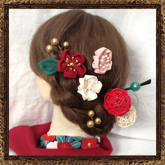 和装 袴 髪飾り 卒業式 梅椿の花香る乙女の飾り