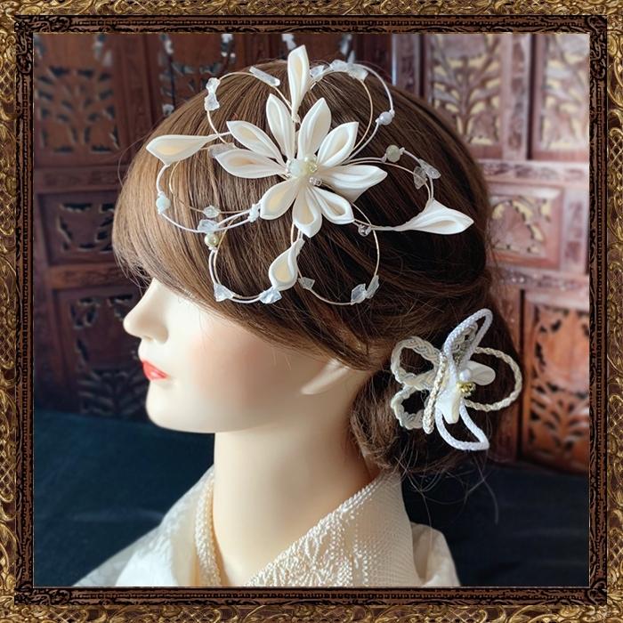 商品:和装 髪飾り 結婚式 和婚 大正浪漫 月雪花の調べ