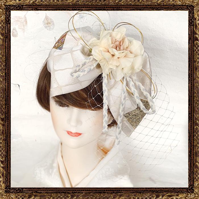 和装 髪飾り 結婚式(和婚)純白の花嫁 大正ロマンリボンネット